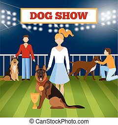 People Wigh Dogs Poster - People with dogs on pet show...