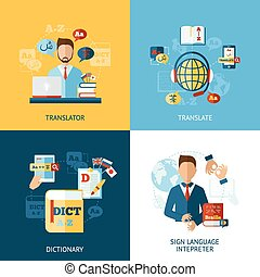 Language Translator Set - Translator design concept set with...