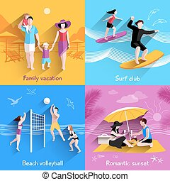 People On Beach - People on beach design concept with family...