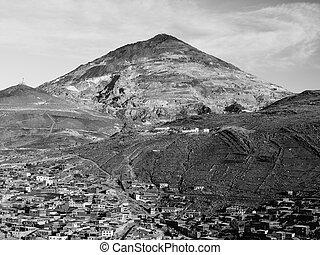 Cerro Rico Mountain above Potosi in Bolivia - Cerro Rico and...