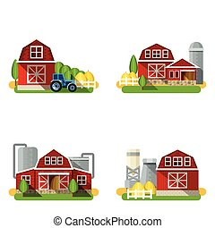 Farm Flat Set - Farm buildings and country houses flat icons...