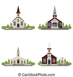 Church Decorative Flat Icon Set - White and red brick...
