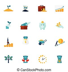 Investment Flat Icon Set - Investment money market coins...