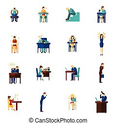 Frustration People Flat Icon Set - Frustration and upset...