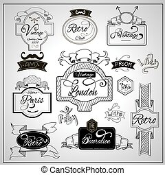 Retro design catchwords elements on whiteboard - Retro...
