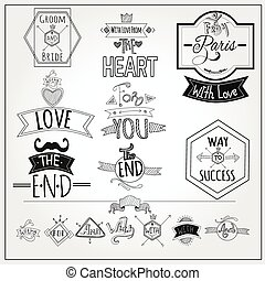 Retro doodle catchwords emblems whiteboard collection -...