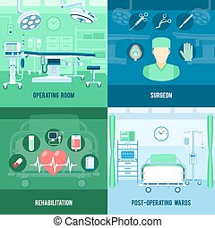 Surgery 4 flat square icons banner - Surgery room and...