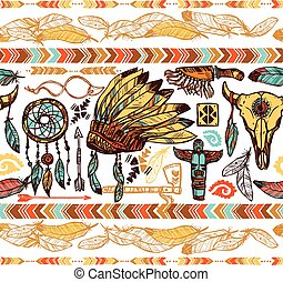 Native Americans Seamless Pattern - Native american style...