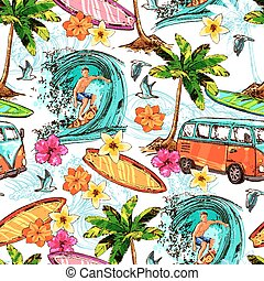 Surf Seamless Pattern