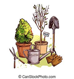 Garden Tools Set - Garden tools set with sketch plants in...
