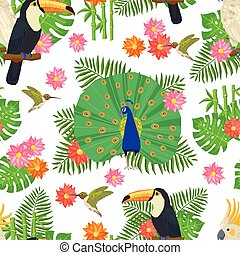 Bird Seamless Pattern - Tropical birds and exotic flowers...