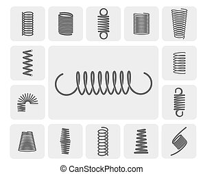 Metal Springs Set - Flexible metal spiral springs flat icons...