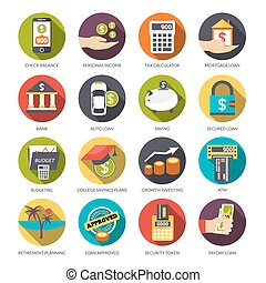 Loan Icons Set - Loan flat icons set with check balance...