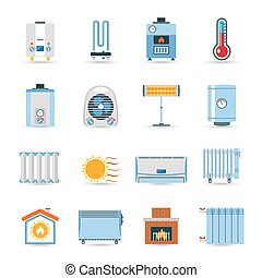 Heating Flat Color Icon Set - Heating devices boilers...