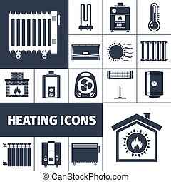 Heating Flat Icon Set - Heating devices boiler radiator...