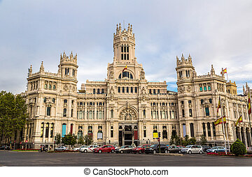 Cibeles Palace in Madrid in a beautiful summer day, Spain
