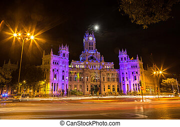 Cibeles Palace in Madrid - Cibeles fountain at Plaza de...