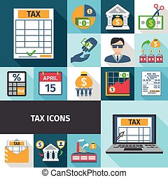 Tax Flat Icon Set - Tax charge fees and payment date flat...