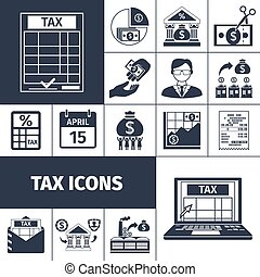 Tax And Fees Flat Icon Set - Taxes and fees payment and...