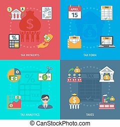 Tax Flat Set - Tax design concept set with payments form and...