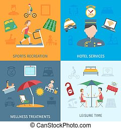 Hotel Services Set - Hotel services design concept set with...