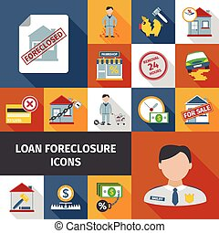 Loan Foreclosure Icons - Loan foreclosure and debt crisis...