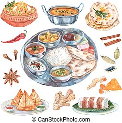 Indian restaurant food ingredients composition - Traditional...