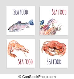 Seafood Watercolor Banners Set - Seafood watercolor square...