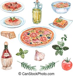 Italian Food Watercolor Set - Italian food watercolor set...