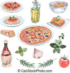 italiano, cibo, acquarello, set,