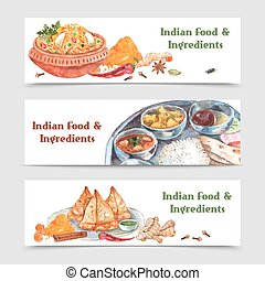 Indian Food Banners Set - Indian food watercolor horizontal...