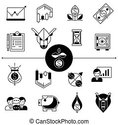 Investments And Stock Line Icons Set - Investment and stock...