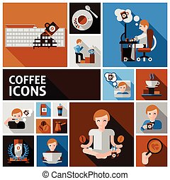 Coffee Icons Set - Coffee and morning icons set with cup...