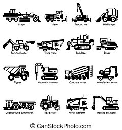 Construction Machines Black White Icons Set - Construction...