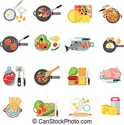 Home cooking flat icons set - Home cooking healthy food flat...