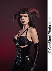 bonito, Demônio, menina, Desgastar, pretas, colete, e,...