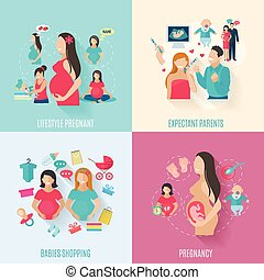 Pregnancy Flat Icons - Pregnancy design concept set with...