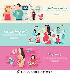 Pregnancy Banner Set - Pregnancy horizontal banner set with...