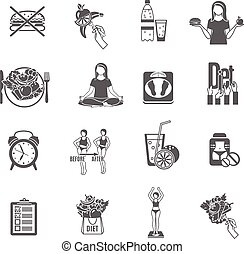 Weight loose diet black icons set - Healthy weight loss and...