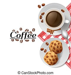 Coffee with cookies breakfast composition illustration -...