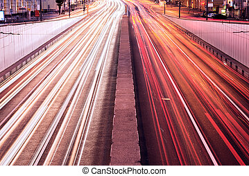 Car lights - Car lights on the central city streets at...