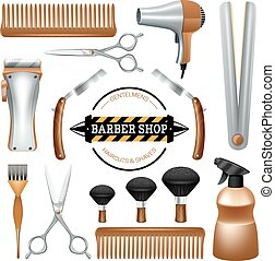 Barbershop tools set - Barbershop sign and tools comb...