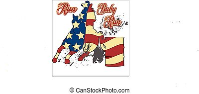 Barrel RAcer - red,white, blue, graphic barrel racer, vector