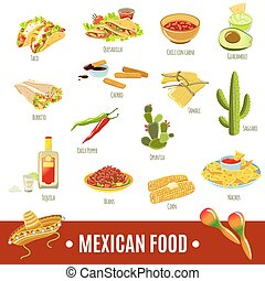 Mexican Food Icon Set - Mexican national tradition food...