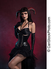 excitado, succubus, ou, Demônio, menina, com, horns, ,...