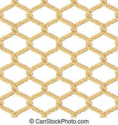Rope Net Seamless Pattern - Associated twisted ropes net...