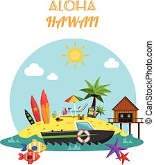 Beach Concept Flat - Beach concept with tropical island and...