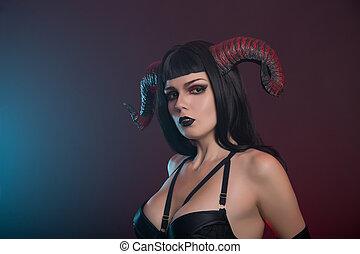 excitado, Demônio, menina, com, vermelho, horns, ,
