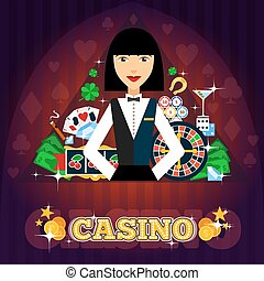 Casino Dealer Concept - Casino dealer concept with cards...