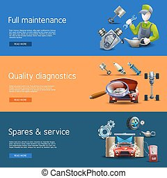 Car Repair Cartoon Banners Set - Car repair and diagnostics...